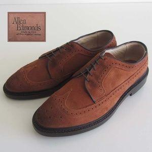 new ALLEN EDMONDS tan suede wingtip shoes 8 D $345